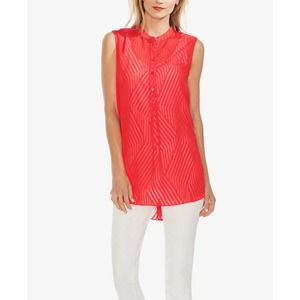 Vince Camuto Red Sleeveless Semi-Sheer Blouse